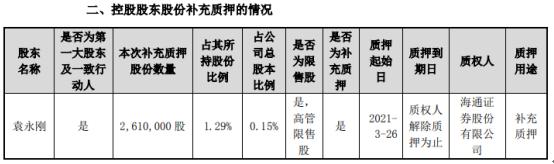 东山精密控股股东袁永刚质押261万股 用于补充质押