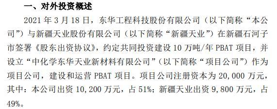 东华科技与新疆天业共同投资2亿建设10万吨/年PBAT项目