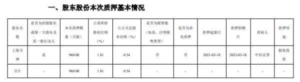 天顺风能控股股东上海天神质押960万股 用于股权投资