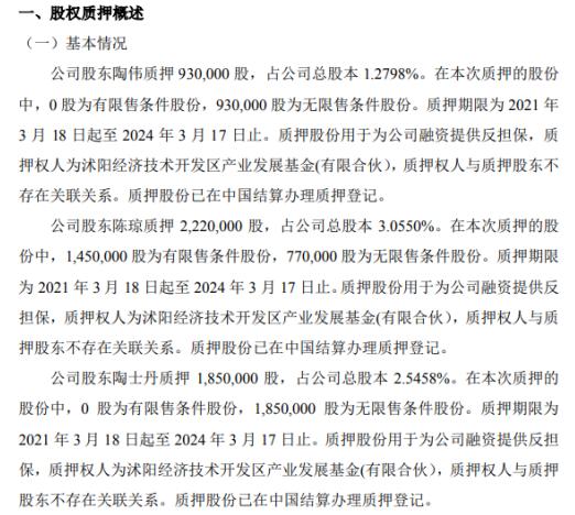 鑫亿鼎3名股东合计质押500万股 用于为公司融资提供反担保