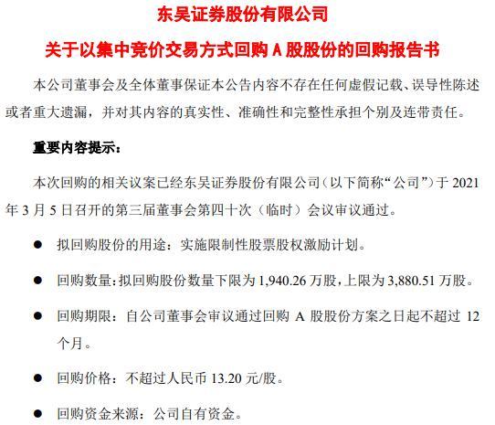 东吴证券将花不超5.12亿元回购公司股份 用于股权激励计划