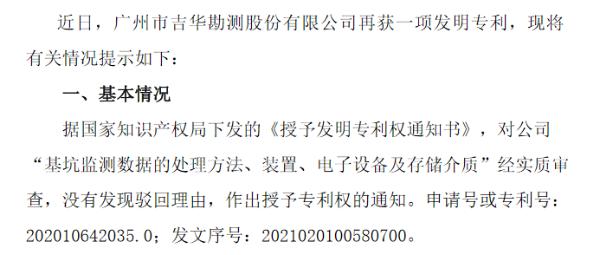 吉华勘测获得一项发明专利 预计2020年净利1800万元-2200万元
