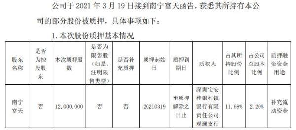 南宁百货股东南宁福田质押1200万股补充营运资金