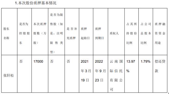 永辉超市股东张轩松质押1.7亿股 用于偿还贷款