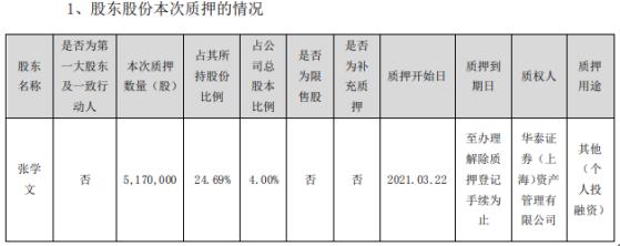 延津浦股东张学文质押517万股用于个人投融资
