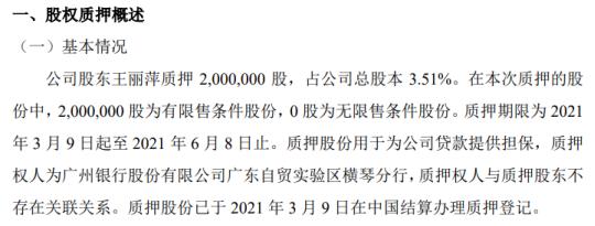 和实科技股东王立平以200万股股份作为公司贷款的担保