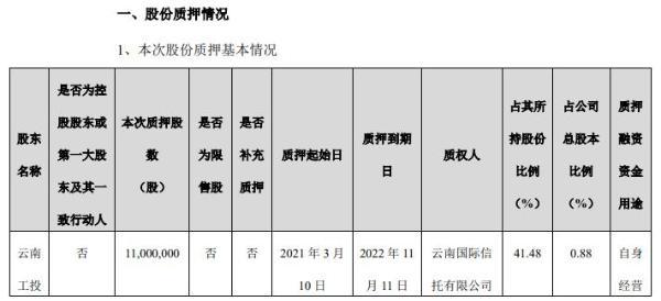 闻泰科技股东云南工投质押1100万股 用于自身经营