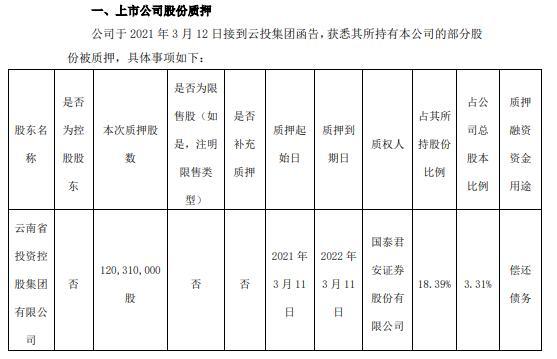 红塔证券股东云投集团质押1.2亿股 用于偿还债务