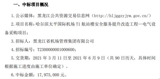 九洲集团中标电气设备采购项目 中标金额1797.5万元