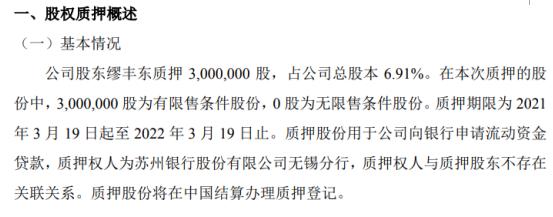 美安医药股东缪丰东质押300万股 用于公司向银行申请流动资金贷款