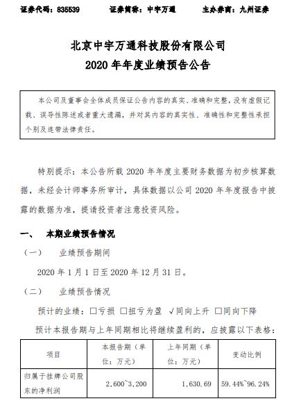 中宇万通2020年预计净利润2600万-3200万 增长59.44%-96.24% 网络安全产业发展良好