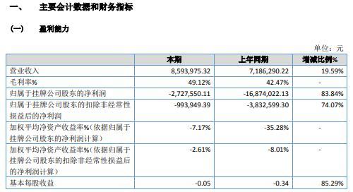 中雁石斛2020年亏损272.76万 本期内销售收入增加
