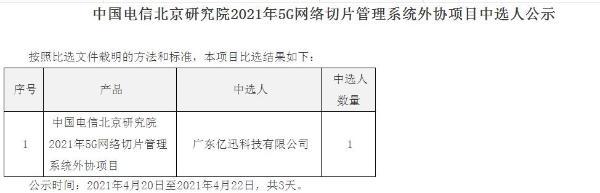 中国电信5G网络切片管理系统外协项目采购,广东亿迅中标