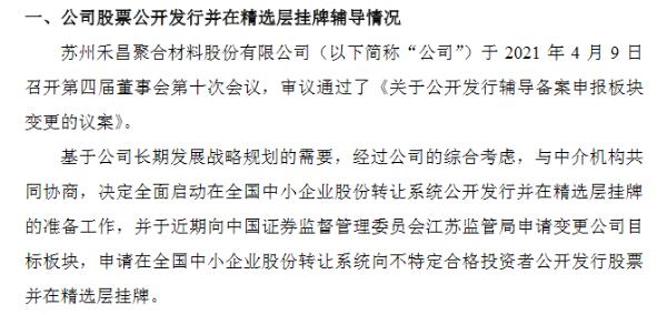 禾昌聚合A股转战精选层 暂不符合晋层财务标准