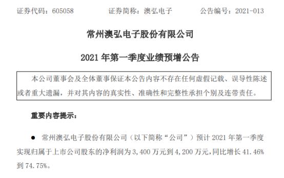 澳弘电子2021年第一季度预计净利增加41%-75% 有效订单增加