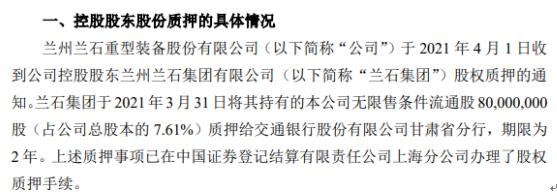 兰石重装控股股东兰石集团质押8000万股 用于满足自身融资需要