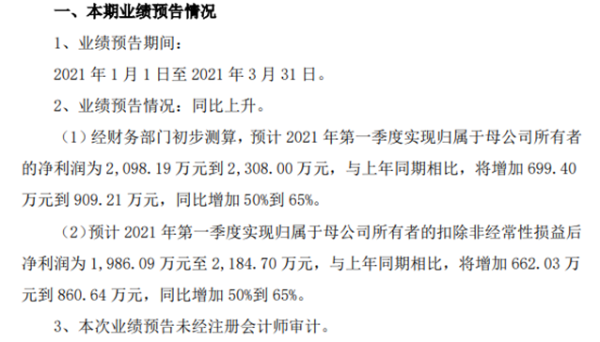 松井股份2021年第一季度预计净利增长50%到65% 营业收入稳定增长