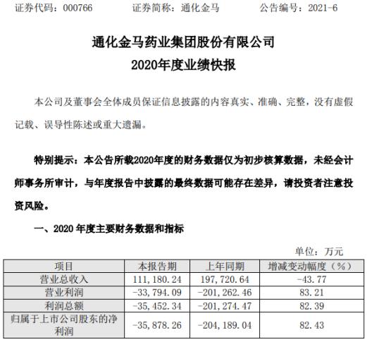 通化金马2020年度亏损3.59亿 上年亏损20.4亿元