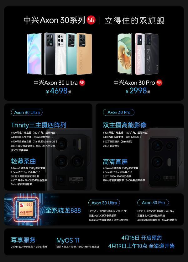 中兴Axon 30系列发布:惊艳三主摄,售价2998元起