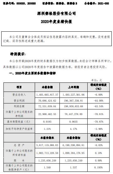 深赛格2020年度净利减少70.81% 出售金融股权减少及联营企业同比亏损