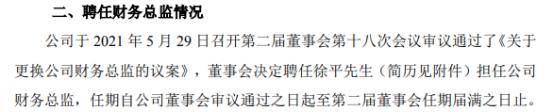 优彩资源财务总监常俊庭辞职 徐平接任