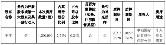 麦格米特控股股东王萍质押120万股 用于个人资金需要