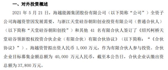 ST海越全资子公司海越资管拟出资1000万元签订《合伙协议》
