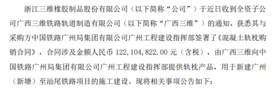三维股份全资子公司签订日常经营合同 合同金额1.22亿元(含税)
