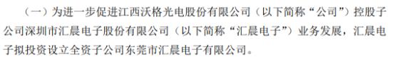 沃格光电控股子公司拟投资6000万设立全资子公司东莞市汇晨电子有限公司