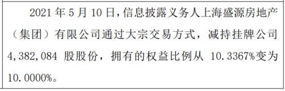 海通期货股东减持438.21万股 权益变动后持股比例为10%