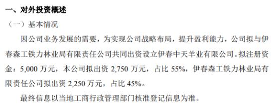 中天羊业拟出资2750万元设立伊春中天羊业有限公司