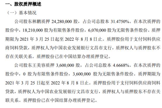 传味股份2名股东合计质押2788万股 用于支付饲料供应商饲料贷款