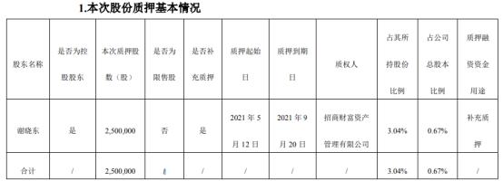 城地香江控股股东谢晓东质押250万股 用于补充质押