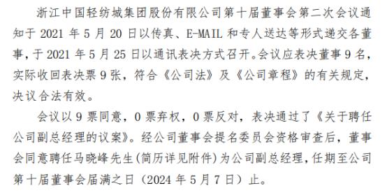 轻纺城聘任马晓峰为公司副总经理