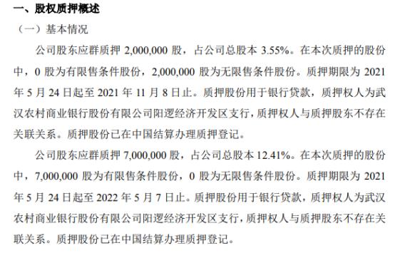 鸿盛华股东应群合计质押900万股 用于银行贷款
