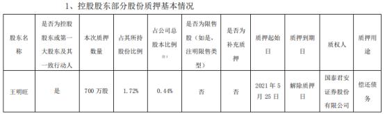 欣旺达控股股东王明旺质押700万股 用于偿还债务
