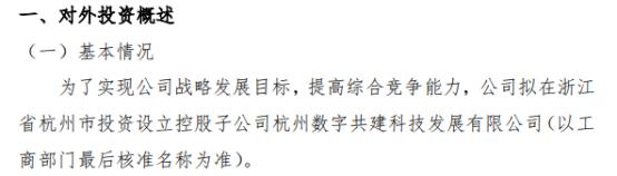 浩腾科技拟在浙江省杭州市投资100万元设立控股子公司