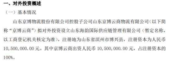 京博物流控股子公司拟对外投资1050万元设立山东海韵国际供应链管理有限公司