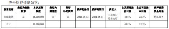 纽威股份控股股东纽威集团质押1600万股 用于偿还债务
