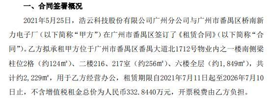浩云科技签订租赁合同 不含增值税租金总价为332.84万元