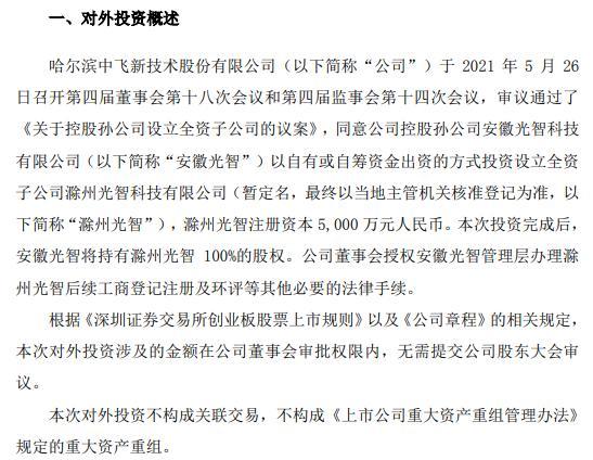 中飞股份控股孙公司投资5000万元设立全资子公司