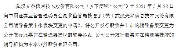 光谷信息A股转战精选层 去年净利润4892万元增长58%