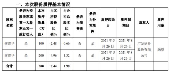 延江股份控股股东谢继华质押300万股 用于融资