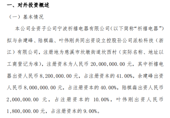 祈禧股份全资子公司祈禧电器对外投资820万元设立控股孙公司