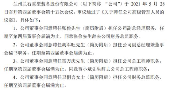 兰石重装聘任张俭担任公司副总经理、胡军旺担任公司副总经理兼董事会秘书