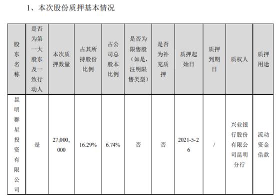 龙津药业控股股东质押2700万股 用于流动资金借款