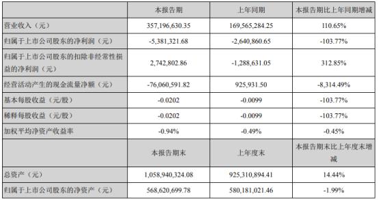 正虹科技2021年第一季度亏损538.13万 同比亏损增加