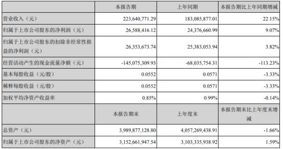 数字政通2021年第一季度净利2658.84万增长9.07% 利息收入增长