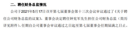 民和股份财务总监曲平辞职 钟宪军接任