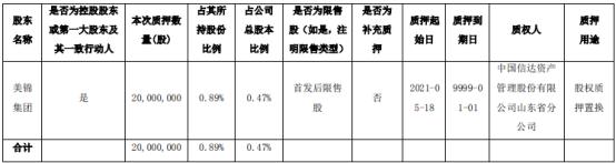 美锦能源第一大股东美锦集团质押2000万股 用于股权质押置换